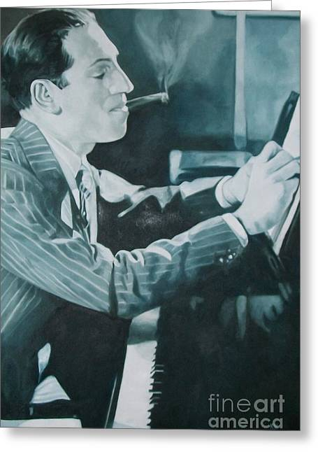Gershwin Greeting Cards - George Gershwin 1930s. Greeting Card by Kevin Hopkins
