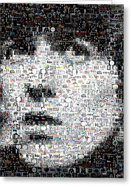 Ringo Starr Mixed Media Greeting Cards - George Harrison Mosaic Greeting Card by Paul Van Scott