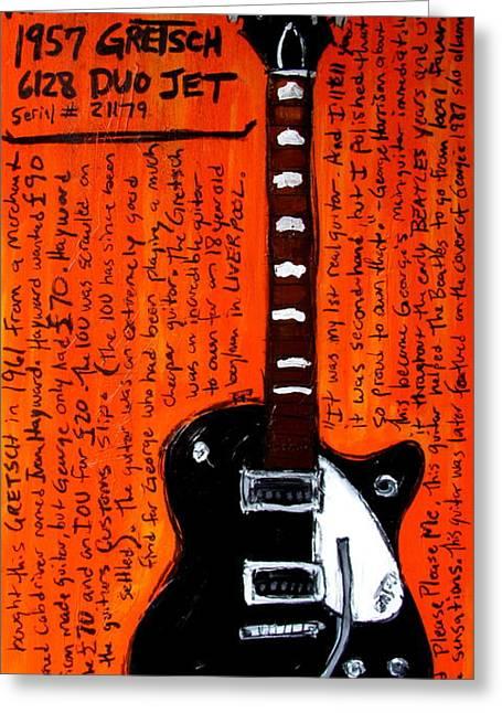 Iconic Guitar Greeting Cards - George Harrisons Gretsch Greeting Card by Karl Haglund