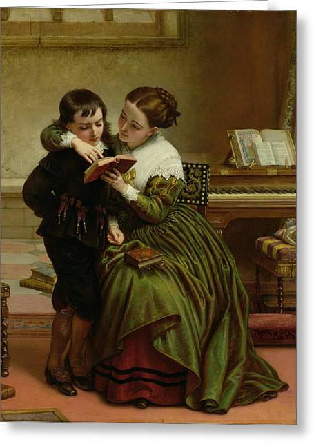 Ms Greeting Cards - George Herbert and His Mother Greeting Card by Charles West Cope