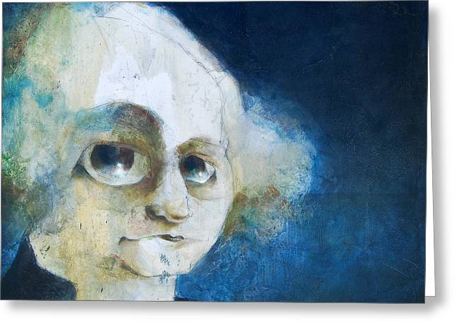 Torn Paintings Greeting Cards - George Greeting Card by Kurt Riemersma