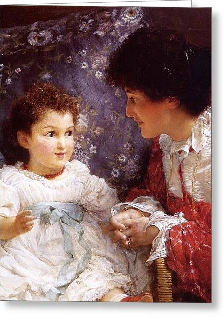 Historic Greeting Cards - George lewis and her daughter Greeting Card by Sumit Mehndiratta