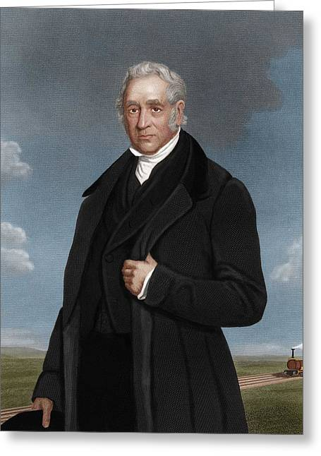George Stephenson, British Engineer Greeting Card by Maria Platt-evans