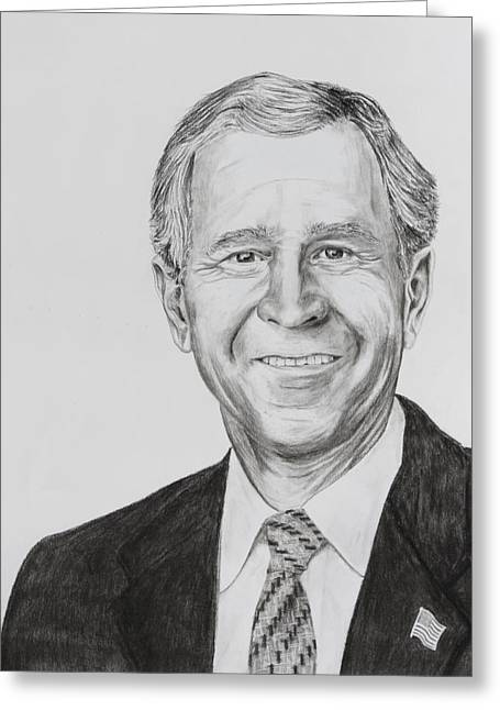 Wtc 11 Drawings Greeting Cards - George W. Bush Greeting Card by Daniel Young
