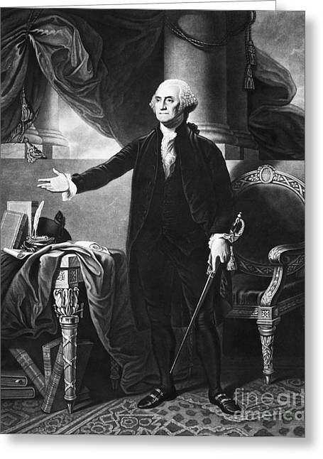 Colonial Man Greeting Cards - George Washington, 1st American Greeting Card by Omikron