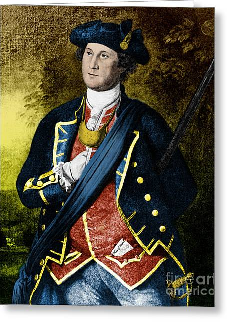 Colonial Man Greeting Cards - George Washington, 1st American Greeting Card by Photo Researchers, Inc.