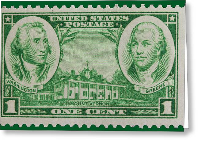 James Hill Greeting Cards - George Washington and Nathanael Greene postage stamp Greeting Card by James Hill