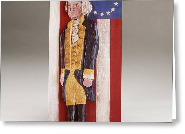 Decor Reliefs Greeting Cards - George Washington and the 13 Stars Greeting Card by James Neill