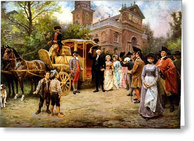 Revolutions Greeting Cards - George Washington arriving at Christ Church Greeting Card by War Is Hell Store
