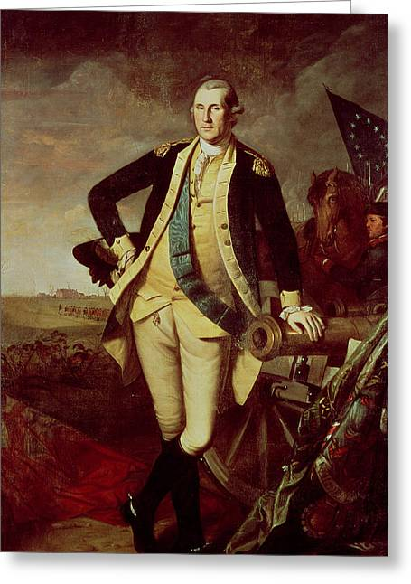 Full-length Portrait Paintings Greeting Cards - George Washington at Princeton Greeting Card by Charles Willson Peale