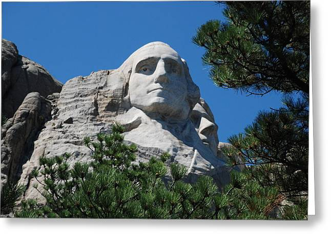 Borglum Greeting Cards - George Washington face  Greeting Card by Dany  Lison