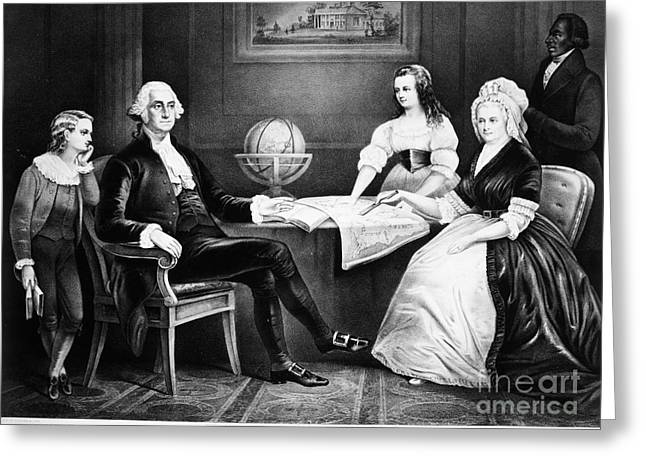 First-lady Greeting Cards - George Washington Family Greeting Card by Granger
