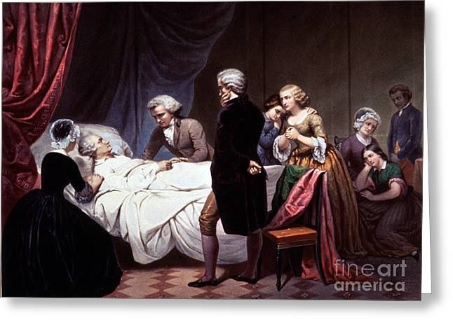 Colonial Man Greeting Cards - George Washington On His Death Bed Greeting Card by Photo Researchers