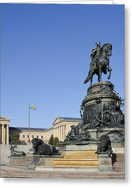 Philadelphia Museum Of Art Greeting Cards - George Washington statue at the Philadelphia Art Museum Greeting Card by Brendan Reals