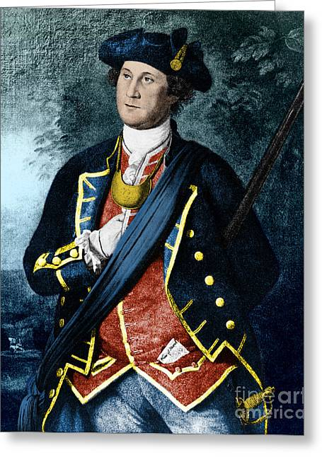 Colonial Man Greeting Cards - George Washington, Virginia Colonel Greeting Card by Photo Researchers, Inc.