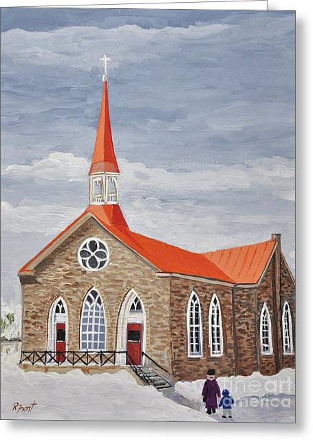 Winter Scenes Rural Scenes Greeting Cards - Georgetown Presbyterian Church Greeting Card by Reb Frost