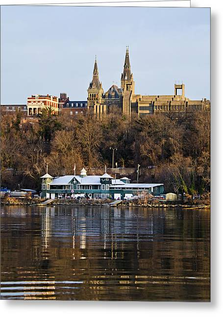 Steeples Greeting Cards - Georgetown University waterfront  Greeting Card by Brendan Reals