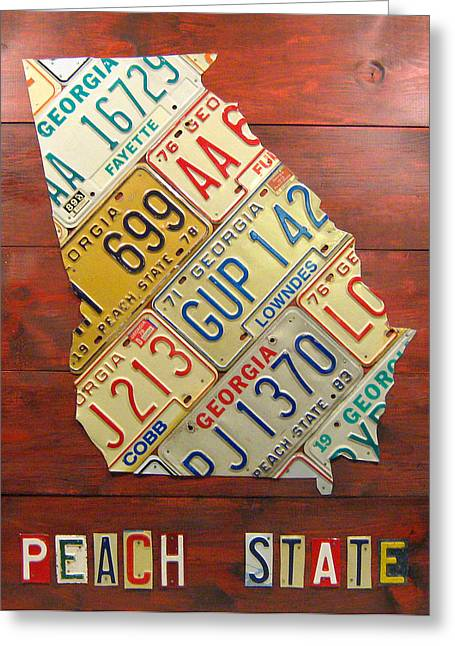 Georgia Greeting Cards - Georgia License Plate Map Greeting Card by Design Turnpike