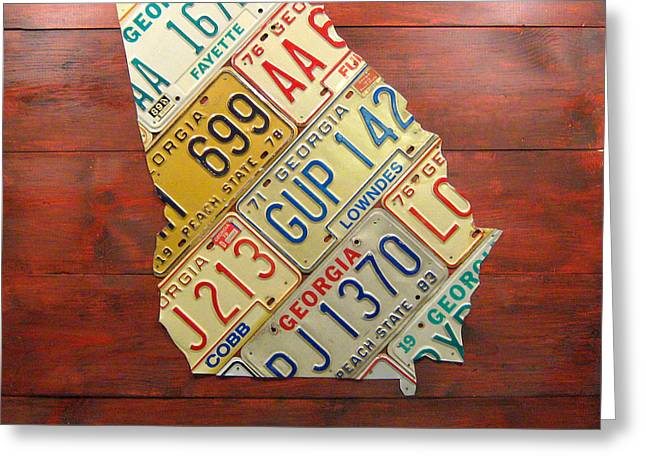 Georgia License Plate Map Greeting Card by Design Turnpike