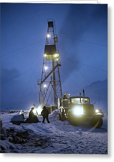 Snowy Night Night Greeting Cards - Geothermal Power Station Drilling Greeting Card by Ria Novosti