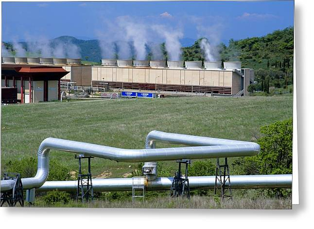 Italian Landscapes Greeting Cards - Geothermal Power Station, Italy Greeting Card by Martin Bond