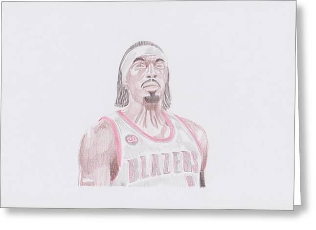 Portland Trailblazers Greeting Cards - Gerald Wallace Greeting Card by Toni Jaso
