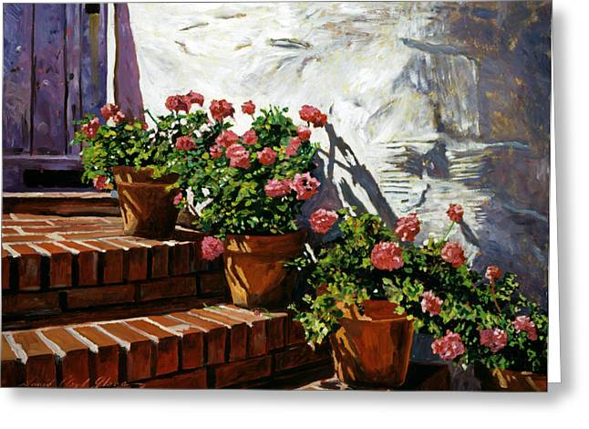 Floral Art Paintings Greeting Cards - Geranium Steps Greeting Card by David Lloyd Glover