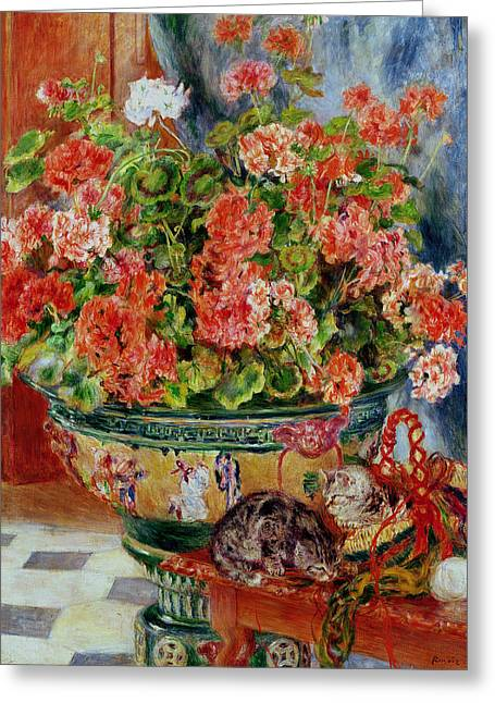 Red Geranium Greeting Cards - Geraniums and Cats Greeting Card by Pierre Auguste Renoir
