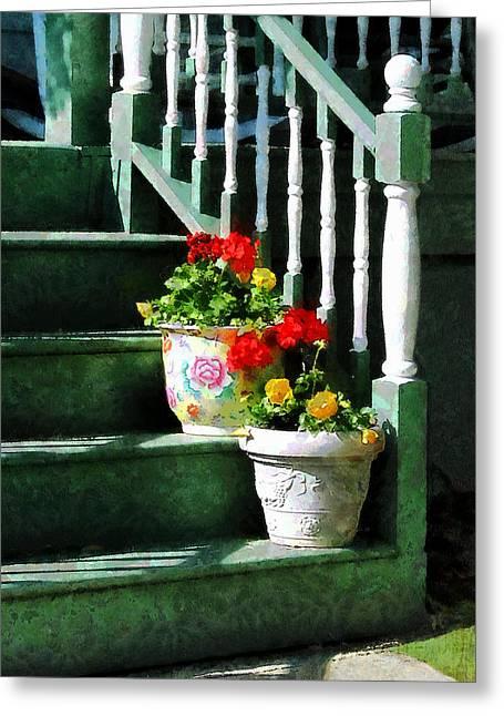 Pansies Greeting Cards - Geraniums and Pansies on Steps Greeting Card by Susan Savad