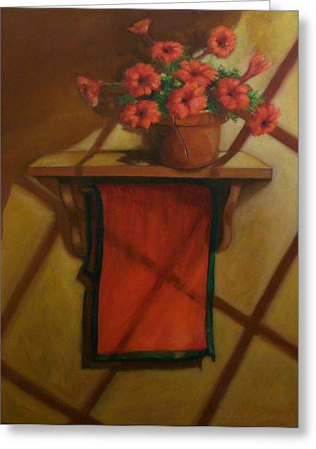 Red Geraniums Mixed Media Greeting Cards - Geraniums and Red towel Greeting Card by Tom Forgione