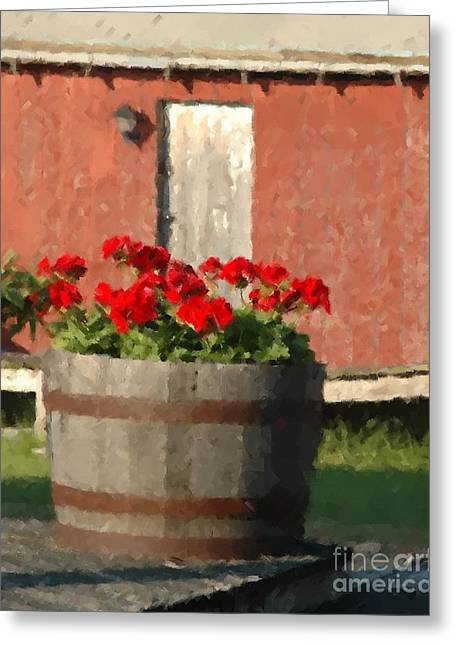 Red Geraniums Greeting Cards - Geraniums Greeting Card by Digital Designs By Dee