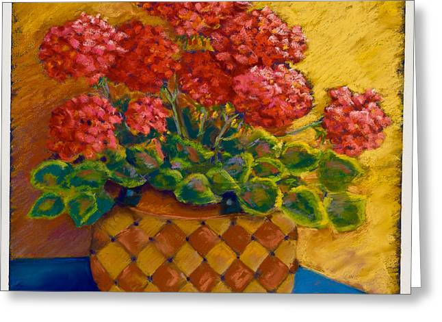 Red Geraniums Pastels Greeting Cards - Geraniums in a basket Greeting Card by Pat Olson