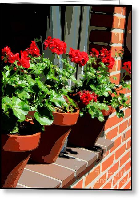 Red Geranium Greeting Cards - Geraniums in Germany Greeting Card by Carol Groenen