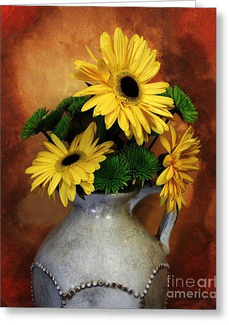 Pottery Pitcher Digital Greeting Cards - Gerber Yellow Daisies Greeting Card by Marsha Heiken