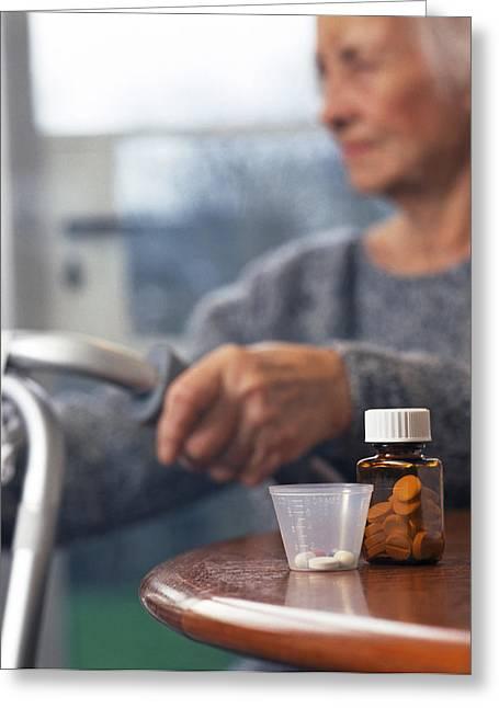 Pill Greeting Cards - Geriatric Medicine Greeting Card by Tek Image