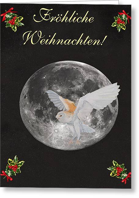 Greek Sculpture Mixed Media Greeting Cards - German Christmas Owl Greeting Card by Eric Kempson