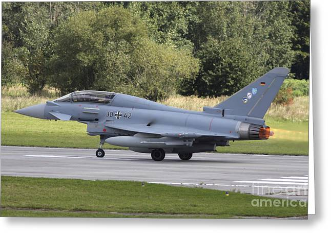 Hradec Greeting Cards - German Eurofighter Trainer Taking Greeting Card by Timm Ziegenthaler