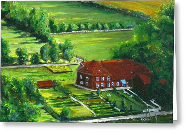 Ewer Paintings Greeting Cards - German Farm Greeting Card by Paintings by Parish