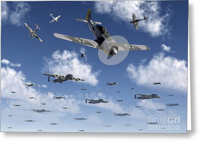 Bomber Escort Greeting Cards - German Focke-wulf 190 Fighter Aircraft Greeting Card by Mark Stevenson