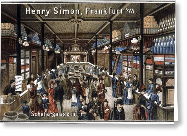 Grocery Store Greeting Cards - German Grocery Store, Historical Artwork Greeting Card by Cci Archives