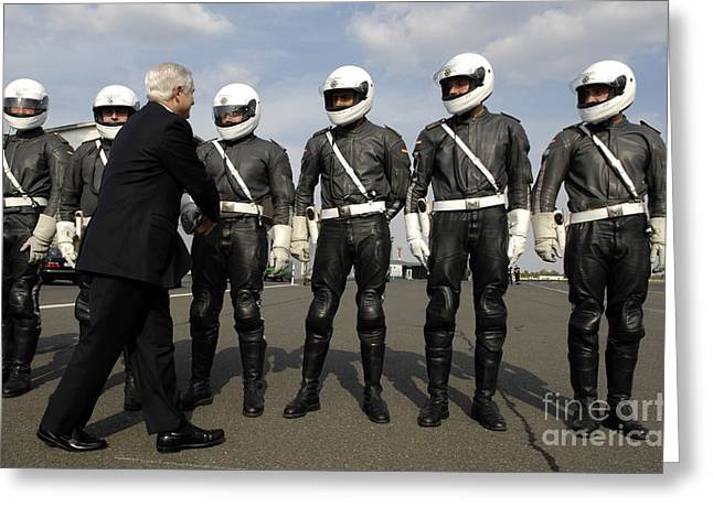 Shaking Hands Greeting Cards - German Motorcycle Police Shake Hands Greeting Card by Stocktrek Images