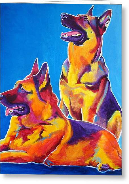 Alicia Vannoy Call Greeting Cards - German Shepherd - Eiko and Erin Greeting Card by Alicia VanNoy Call