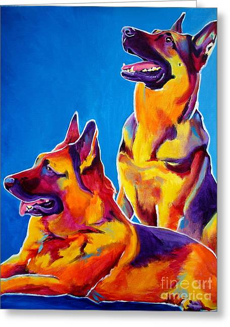German Shepherd - Eiko And Erin Crop Greeting Card by Alicia VanNoy Call