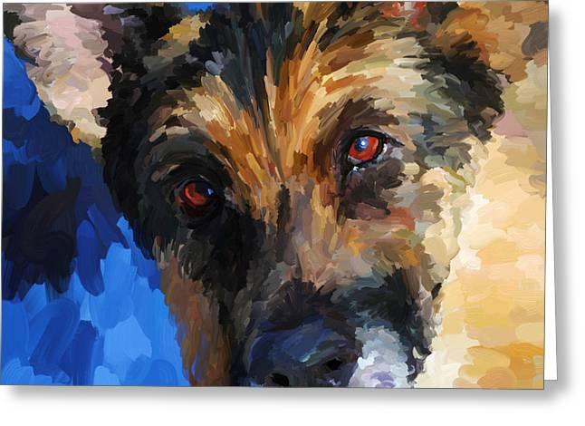 Guard Dog Greeting Cards - German Shepherd - Square Greeting Card by Jai Johnson