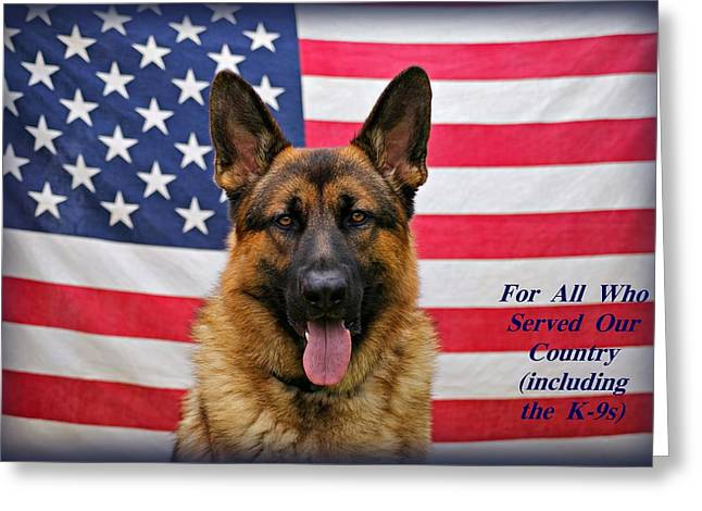 Police Art Greeting Cards - German Shepherd - U.S.A. - Text Greeting Card by Sandy Keeton