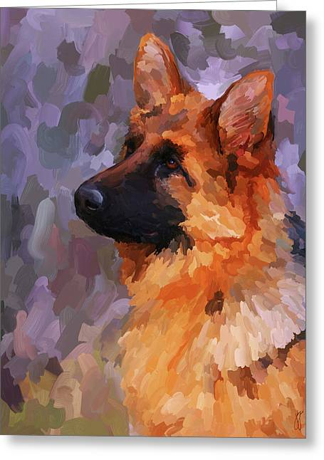 Guard Dog Greeting Cards - German Shepherd 2 Greeting Card by Jai Johnson