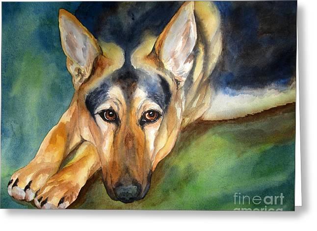 Guard Dog Greeting Cards - German Shepherd Greeting Card by Cherilynn Wood