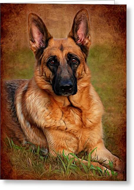 Purebred Digital Art Greeting Cards - German Shepherd Dog Portrait  Greeting Card by Angie Tirado