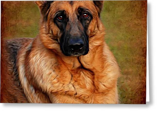 German Shepherd Dog Portrait  Greeting Card by Angie Tirado