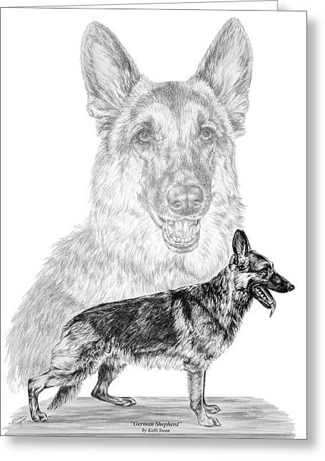 Kelly Greeting Cards - German Shepherd Dogs Print Greeting Card by Kelli Swan